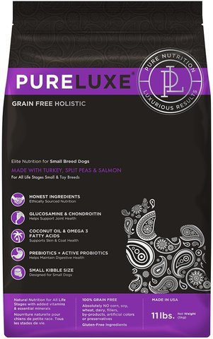 PureLuxe Elite Nutrition for small breed dogs with turkey, split peas & salmon