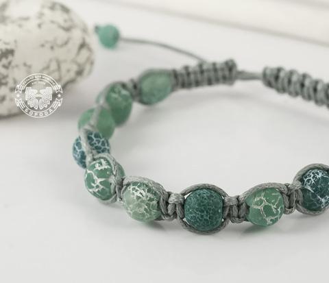 Мужской браслет ручной работы из ярко-зеленого агата. «Boroda Design»