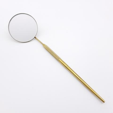 Зеркало для наращивания ресниц, титан/золото, MC-01TG