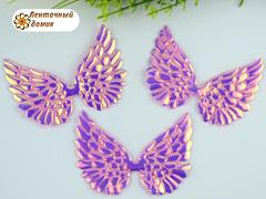 Декор крылья с переливом большие розовые
