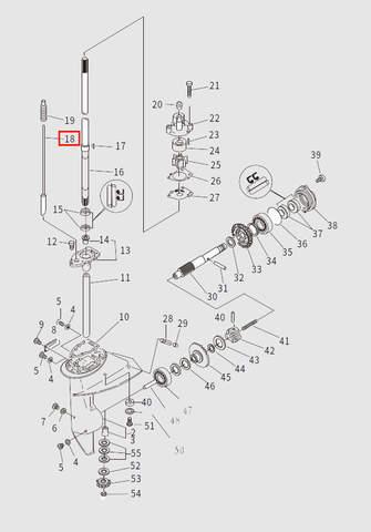 Шток переключения передач для лодочного мотора T9.8 Sea-PRO (13-18)