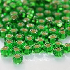 57120 Бисер 5/0 Preciosa прозрачный зеленый с серебряным квадратным центром