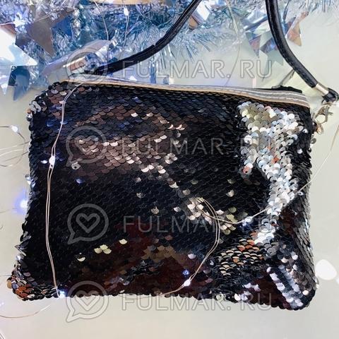 Клатч-сумочка на молнии детская с пайетками меняющая цвет Чёрный-Серебристый