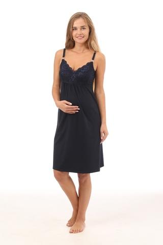 Ночная сорочка для беременных и кормящих 09978 темно-синий