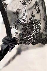 Атласный эротический комплект белья черный с кружевом