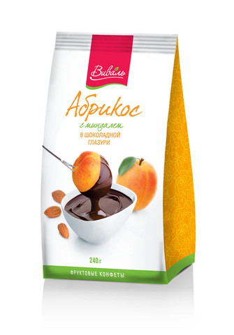 ВИВАЛЬ Абрикос с миндалем в шоколадной глазури 240г