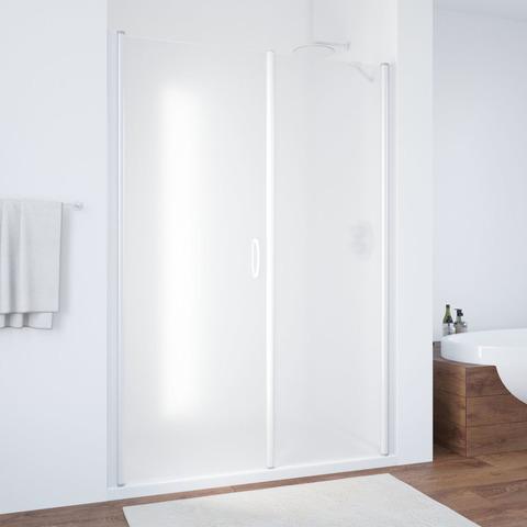 Душевая дверь в нишу Vegas Glass EP-F-2  профиль белый, стекло сатин