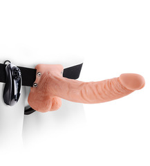 "Фаллопротез с креплением Fetish Fantasy Series 9"" Vibrating Hollow Strap-On with Balls - Flesh (4,6 х 22,9 см)"