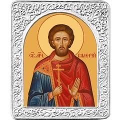 Святой Валерий. Маленькая икона в серебряной раме.