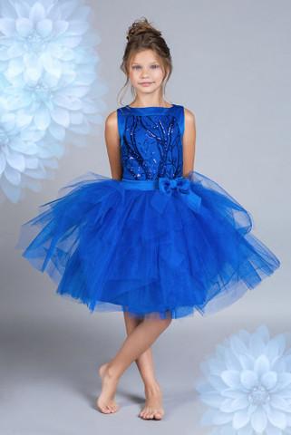 Пышное синее платье (арт.304 син)