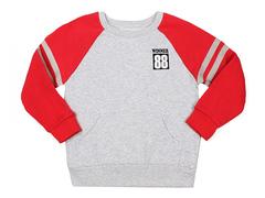 BAC004978 Джемпер для мальчиков, серый меланж/красный