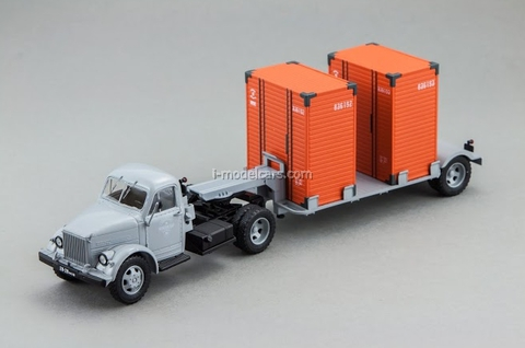 GAZ-51P green and T-213 semi gray DIP 1:43