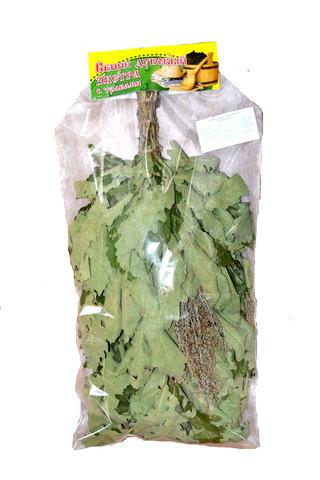 Веник с травами - дуб ЭКСТРА с полынью в инд. упаковке