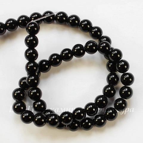 Бусина Агат (прессов.,тониров), шарик, цвет - черный, 8 мм, нить