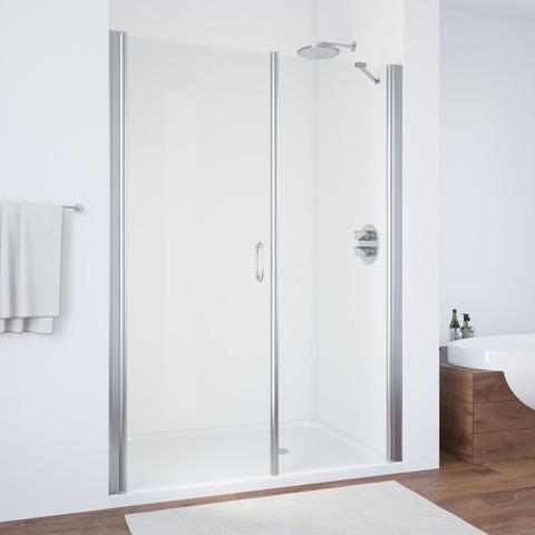 Душевая дверь в нишу Vegas Glass EP-F-2  профиль глянцевый хром, стекло прозрачное