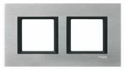 Рамка на 2 поста. Цвет Серебристый алюминий. Schneider electric Unica Class. MGU68.004.7A1