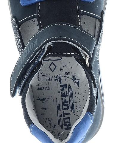 Детские сандалии Котофей 422056-23 из натуральной кожи, для мальчика, синие. Изображение 5 из 5.