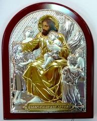 Серебряная с золочением икона Благословение детей 11х9см