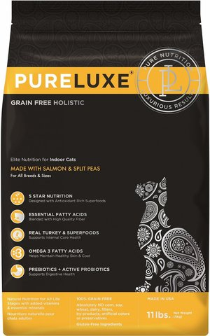 PureLuxe Elite Nutrition for indoor cats with salmon & split peas