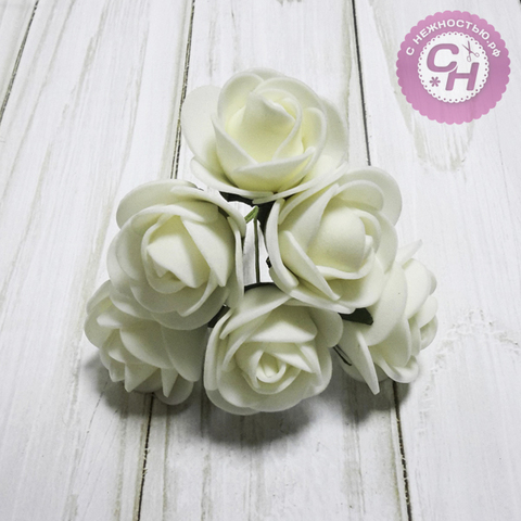 Роза  из фоамирана круглая 3,5 см, на проволоке, набор 6 шт.