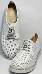Купить летние женские туфли кожаные с перфорацией GUERO G177-63 White.