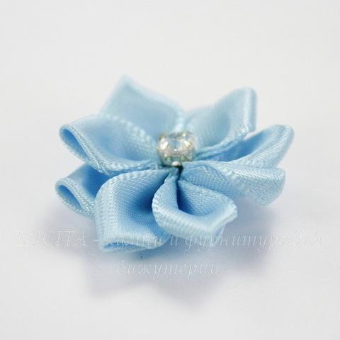 Цветочек голубой со стразом 30 мм ()