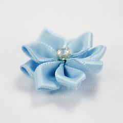 Цветочек голубой со стразом 30 мм