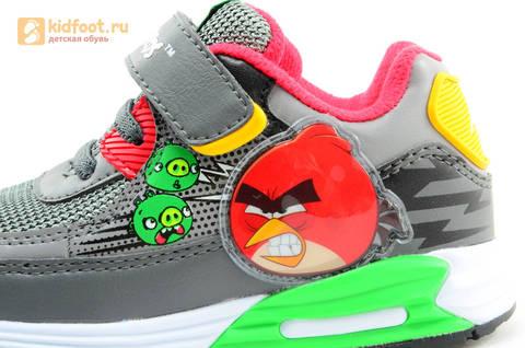 Светящиеся кроссовки для мальчиков Энгри Бердс (Angry Birds) на липучках, цвет темно серый, мигает картинка сбоку. Изображение 12 из 15.