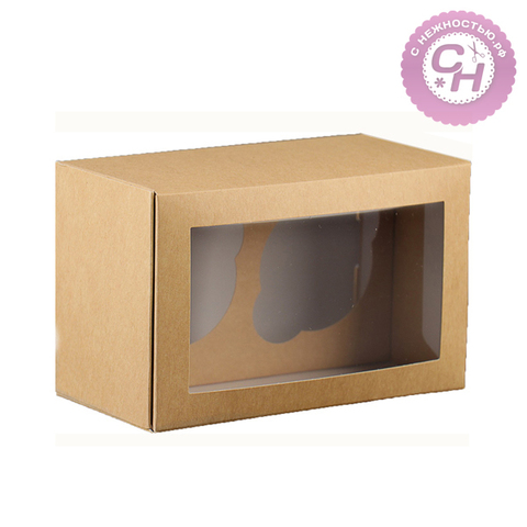 Коробка прямоугольная однотонная, с окном, мягкая картонная, 1 шт.