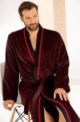 Элитный халат-кимоно велюровый 4839 красный/черный от Cawo