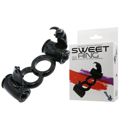 Эрекционное кольцо с вибрацией для пениса и мошонки Sweet Ring (d. 3 см)