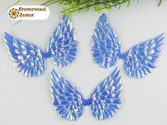 Декор крылья с переливом большие голубые