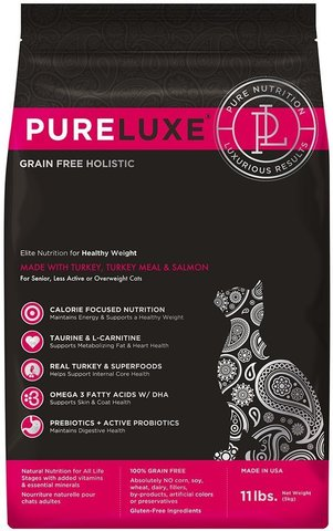 PureLuxe Elite Nutrition for healthy weight cats with turkey, turkey meal & salmon