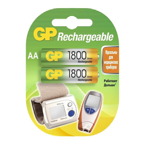 Аккумулятор GP 1800 мАн АА/LR6 NiMh бл/2