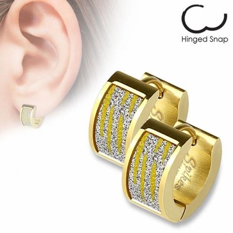 Оригинальные красивые стильные серьги кольцами женские с позолотой с алмазным блеском из ювелирной стали 316L SPIKES SEZ-13