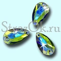 Стразы пришивные стеклянные Drope Peridot AB, Капля Перидот АБ зеленый с радужным покрытием на StrazOK.ru
