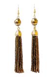 Серьги бисерные янтарные длинные из 18 нитей