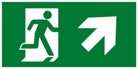 Современный комбинированный эвакуационный знак Е37 – Направление к эвакуационному выходу направо вверх