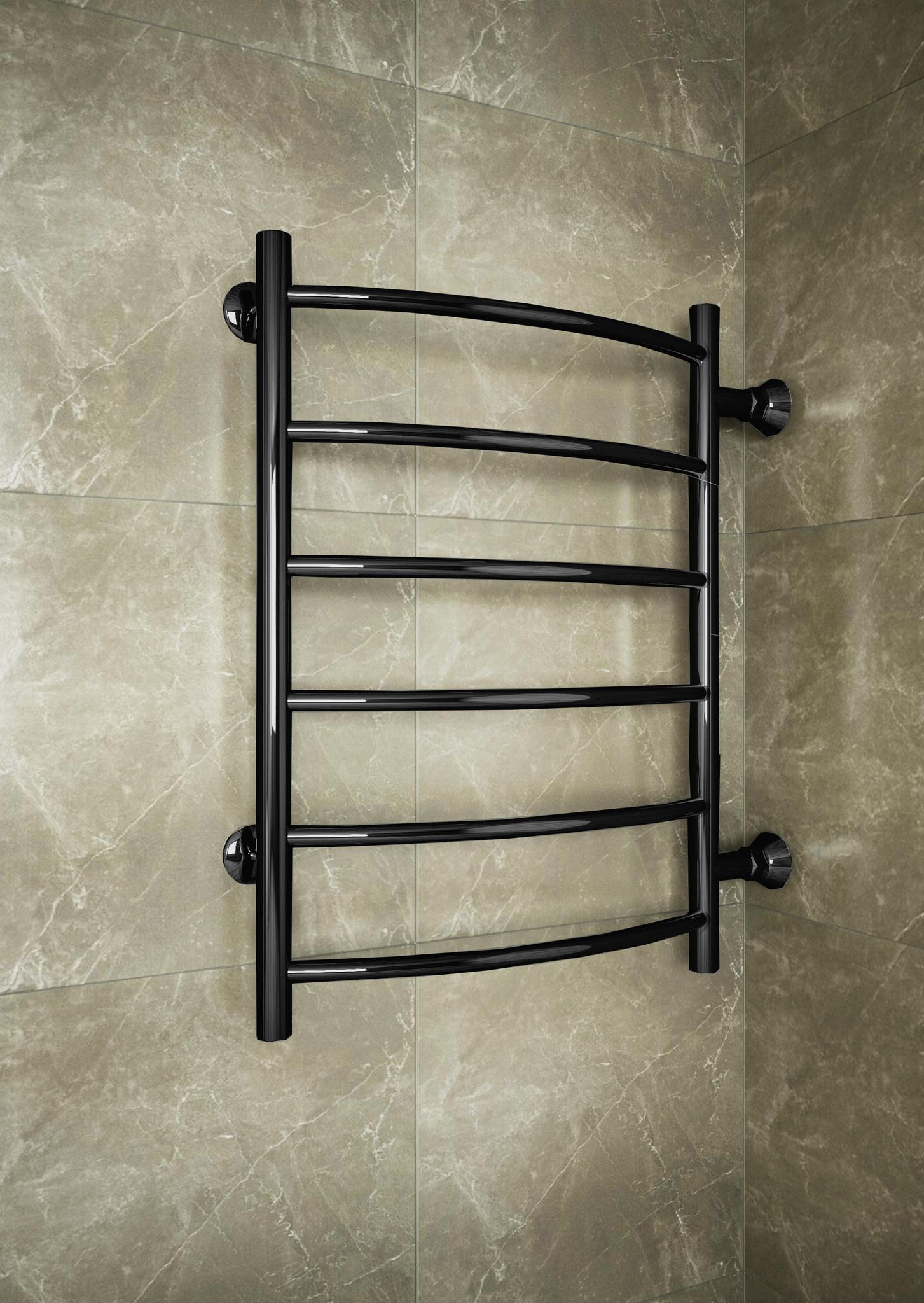 Classic - водяной полотенцесушитель с боковым подключением черного цвета.