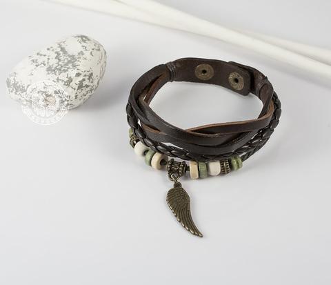 BL216-3 Тёмно-коричневый браслет из натуральной кожи с крылом (16,5-18,5 см)