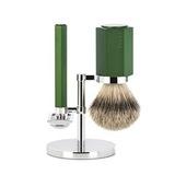 Бритвенный набор MUEHLE HEXAGON, зеленый, барсучий ворс высшей категории Silvertip, Т-образная бритва (S 091 M HXG FOREST)