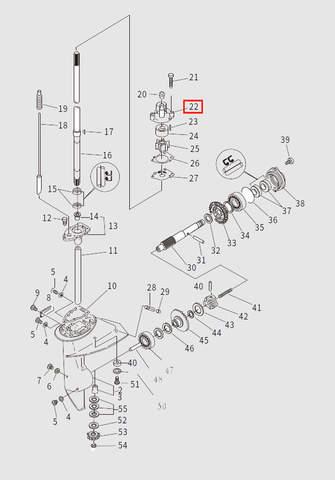 Корпус помпы для лодочного мотора T9.8 Sea-PRO (13-22)