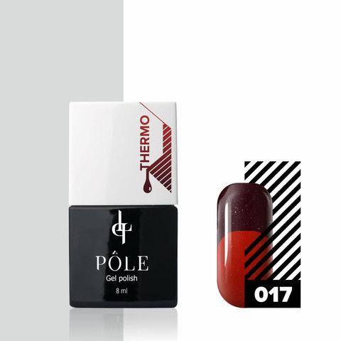 Гель-лак POLE - термо №17 - бордовый/красный (8 мл.)