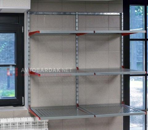 Настенные металлические стеллажи. 3 ряда полок глубиной 520 мм (Д*В) (1200*1200 мм)