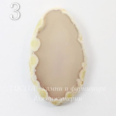 Срез Агата без отверстия (тониров), цвет - серый, 54-64 мм (№3 (54х32 мм))