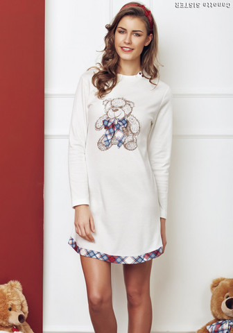 Короткое домашнее платье-сорочка с мишкой