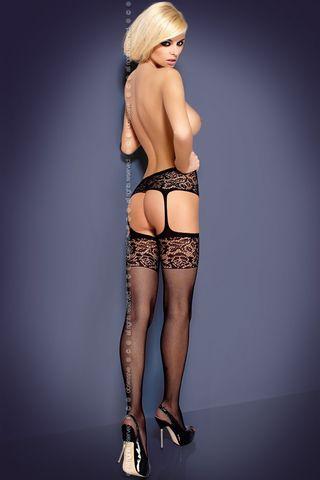 Черные чулки с поясом S 500 garter stockings фото