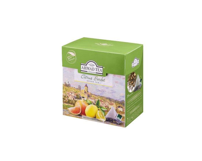 Чай зеленый в пирамидках Ahmad Tea Цитрусовый сорбет, 20 пак/уп (Ахмад)