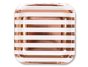 Тарелка фольгированная розовое золото 17см 6шт