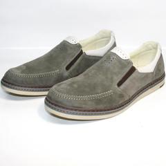 Кожаные лоферы мужские IKOC 3394-3 Gray